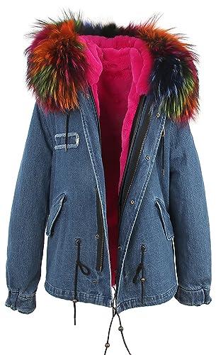 S.ROMZA Mujer gruesa de piel sintética Parka abrigo con capucha Chaqueta de invierno desmontable pie...