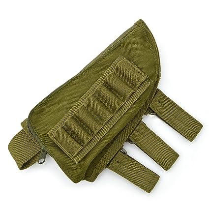 Rifle Stock Pack, Cheek Pad / Buttstock Ammo Holder Pouch, Tactical  Buttstock Shotgun Rifle Shell Holder Cheek Rest Pouch (Green)