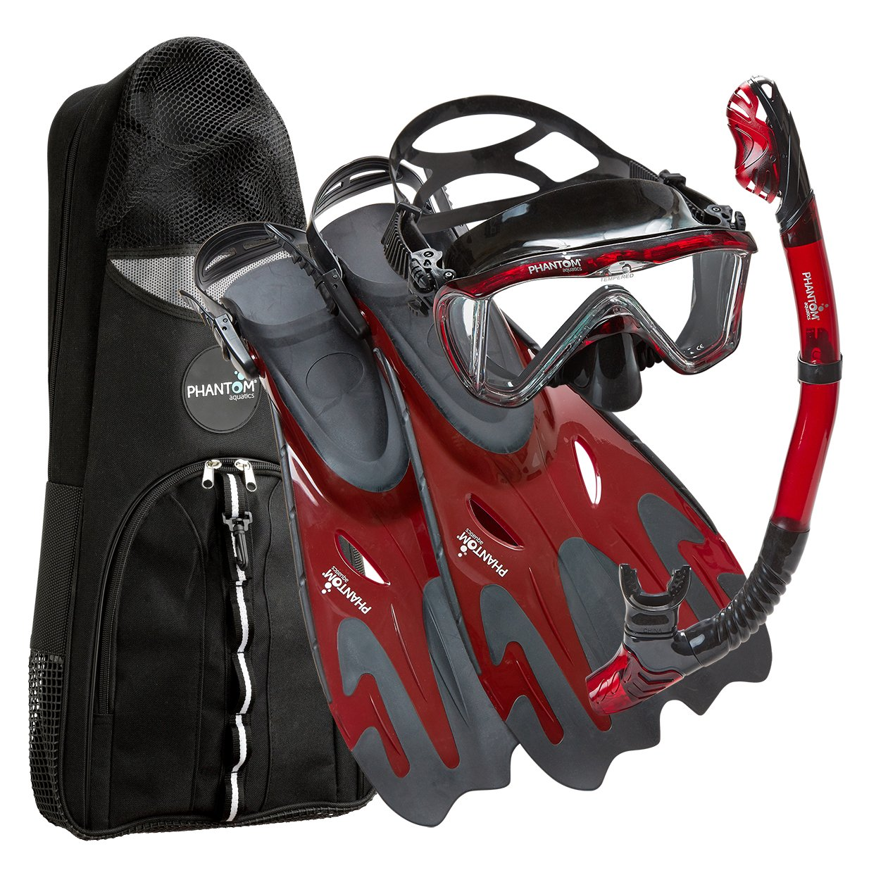 Phantom Aquatics Legendary Mask Fin Snorkel Set with Mesh Bag, Black/Red, Small/Medium (5-8) by Phantom Aquatics