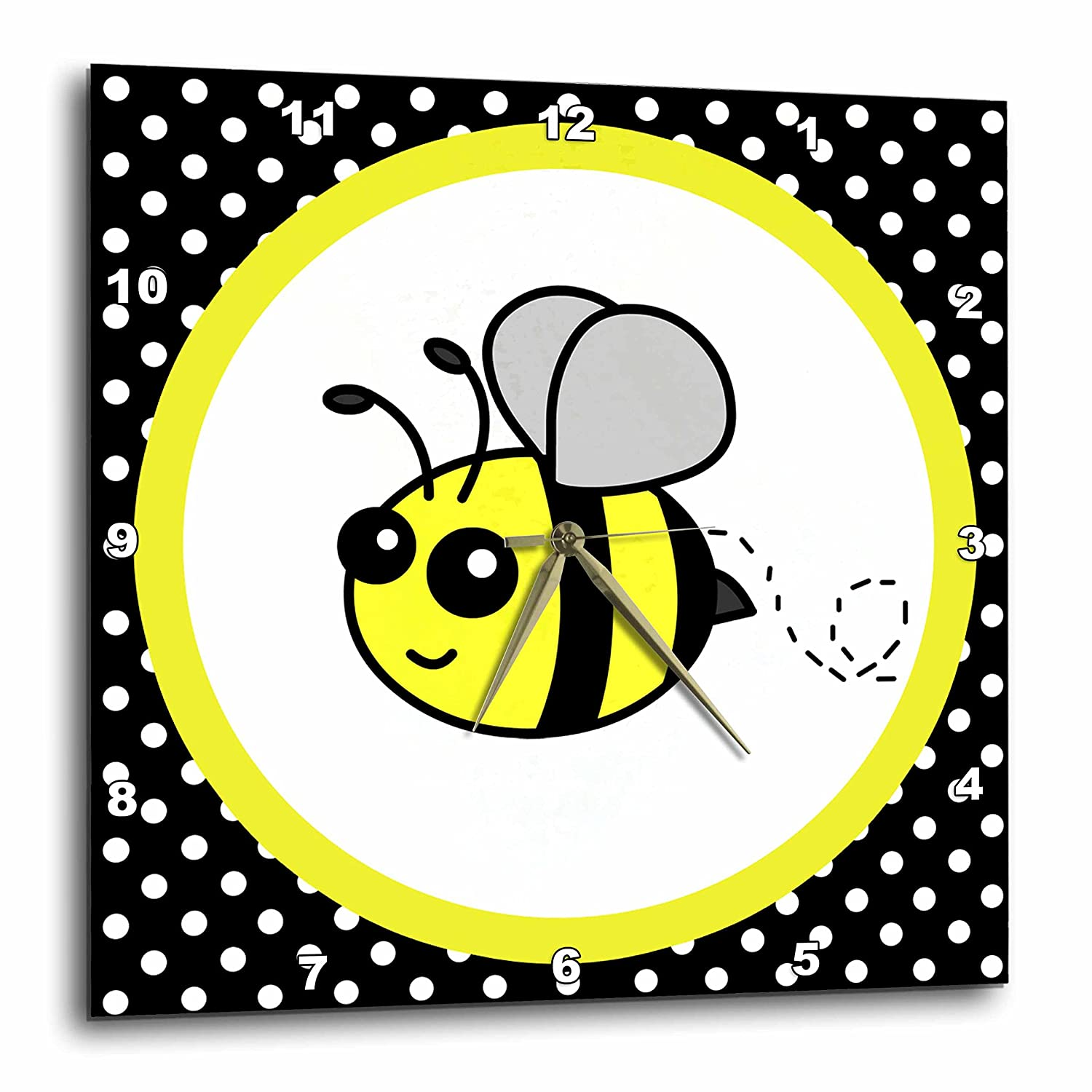3dRose dpp/_57078/_1 Cute Yellow Bumble Bee on Black and White Polka Dots Wall Clock 10 by 10-Inch 3D Rose