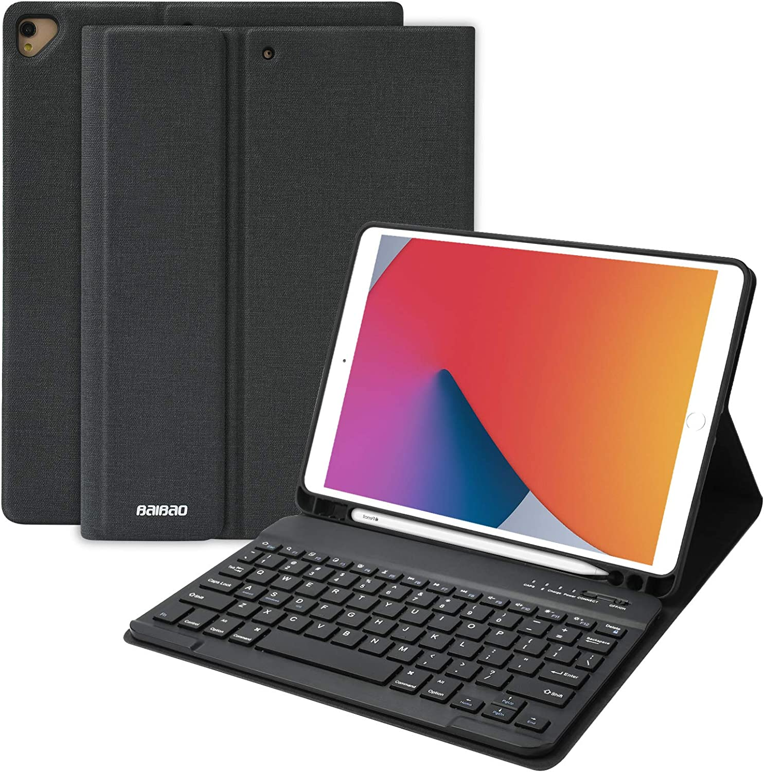 iPad 8th Generation Keyboard Case for iPad 10.2 Inch 2019,iPad Air 3 10.5 2019 Keyboard Case,iPad Pro 10.5 2017 Case with Keyboard, with Detachable Wireless Bluetooth Keyboard and Pencil Holder