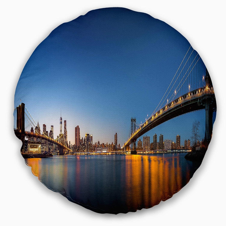 Designart CU14588-20-20-C New York City Dusk Panorama Round Cushion Cover for Living Room, Sofa Throw Pillow 20'