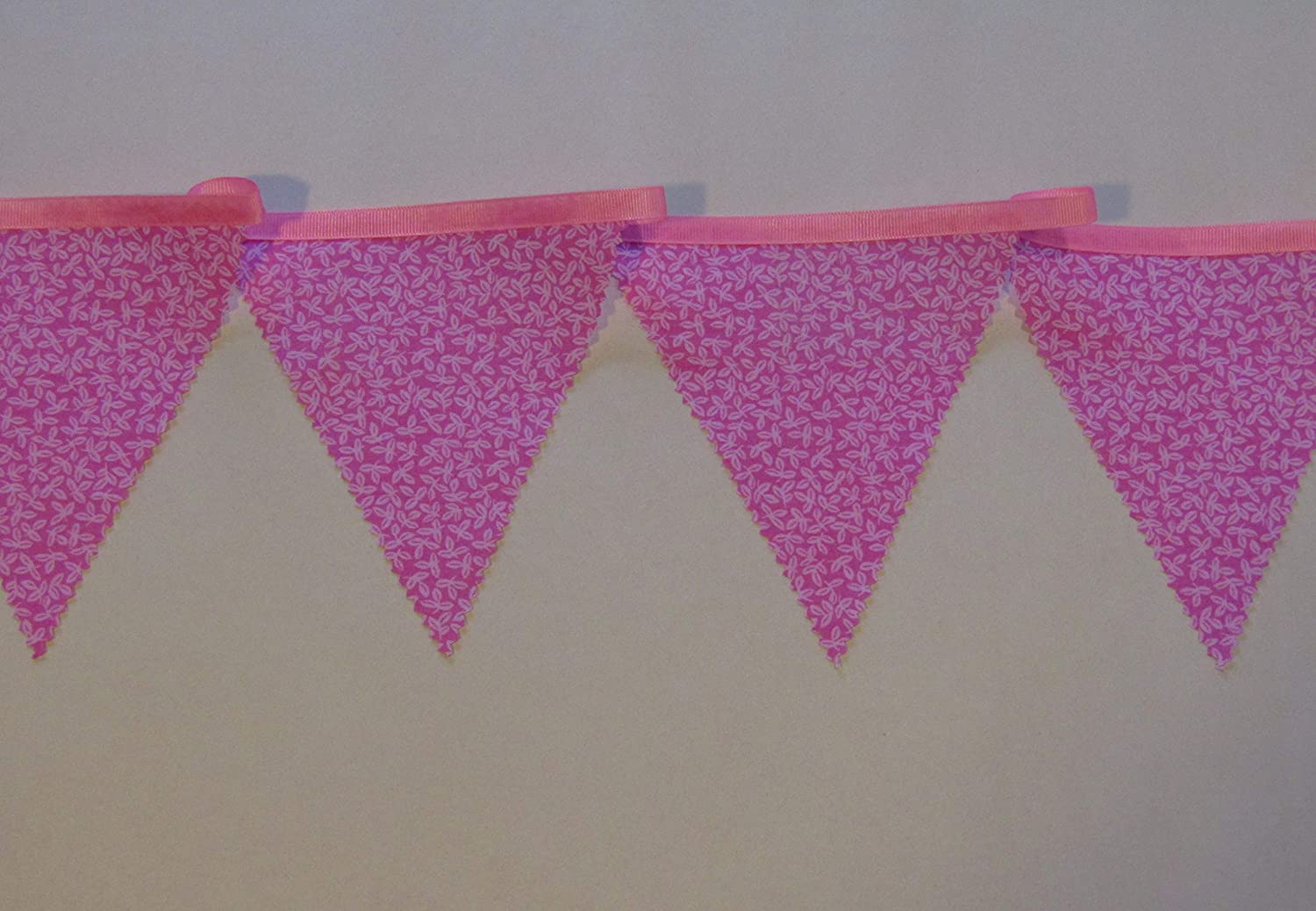 PINK AND WHITE FABRIC BUNTING NURSERY,BABY SHOWER,CHRISTENING