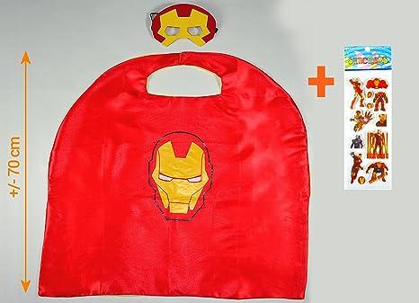 Iron Man Capa y máscara para niños superhéroe - Superhéroes niños niñas niños Fancy disfraz de fiesta hasta Capes para 2 A 11 Años - satinado doble capa ...