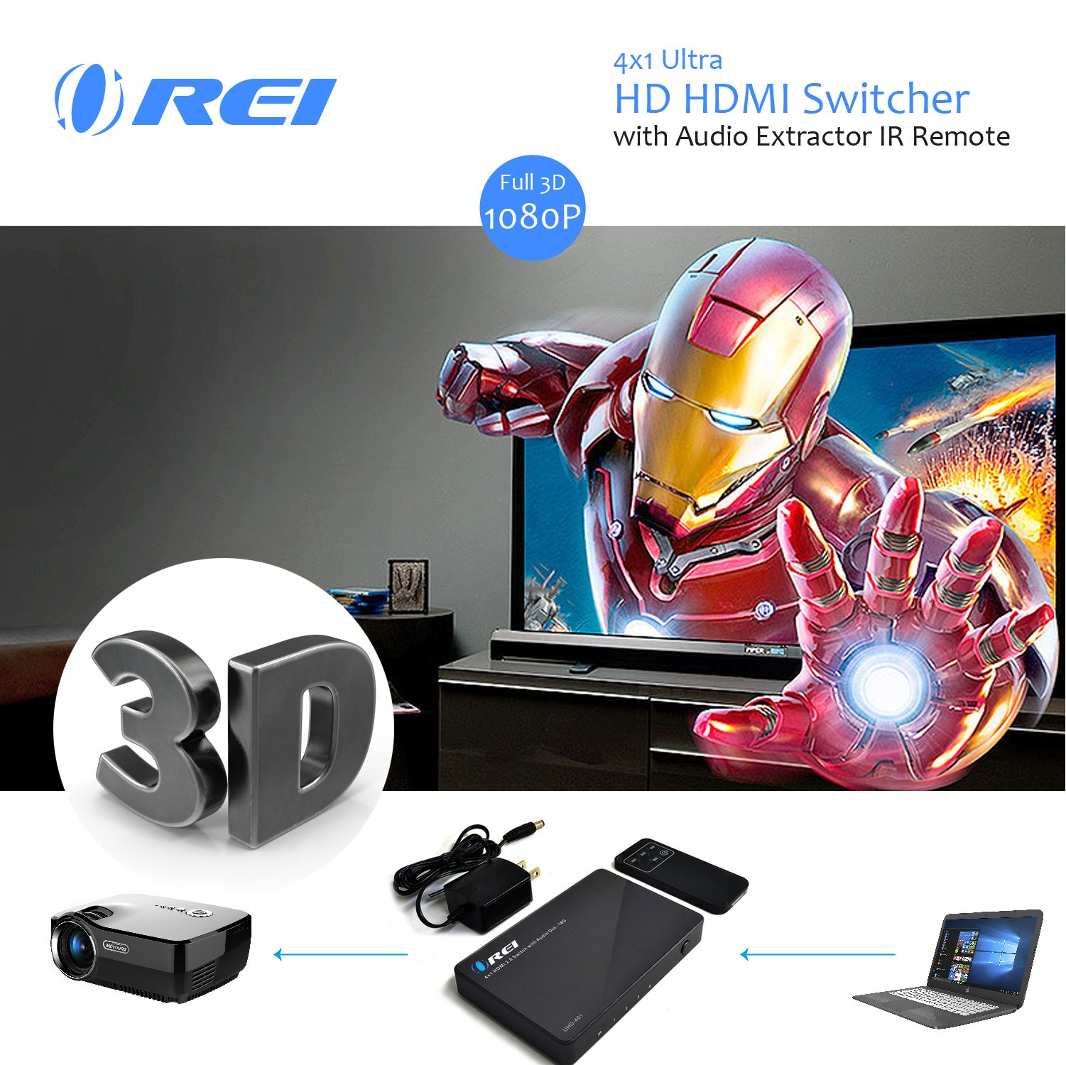 OREI 4 X 1 Ultra HD HDMI Switcher With Audio Extractor IR Remote - Supports Upto 4K @ 60Hz - (4 Input, 1 Output) Switch, Hub, Port for Cable, HD TV, Laptop, MacBook & More by OREI (Image #4)