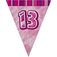 Unique Party- Banderines de 13 cumpleaños, Color Rosa