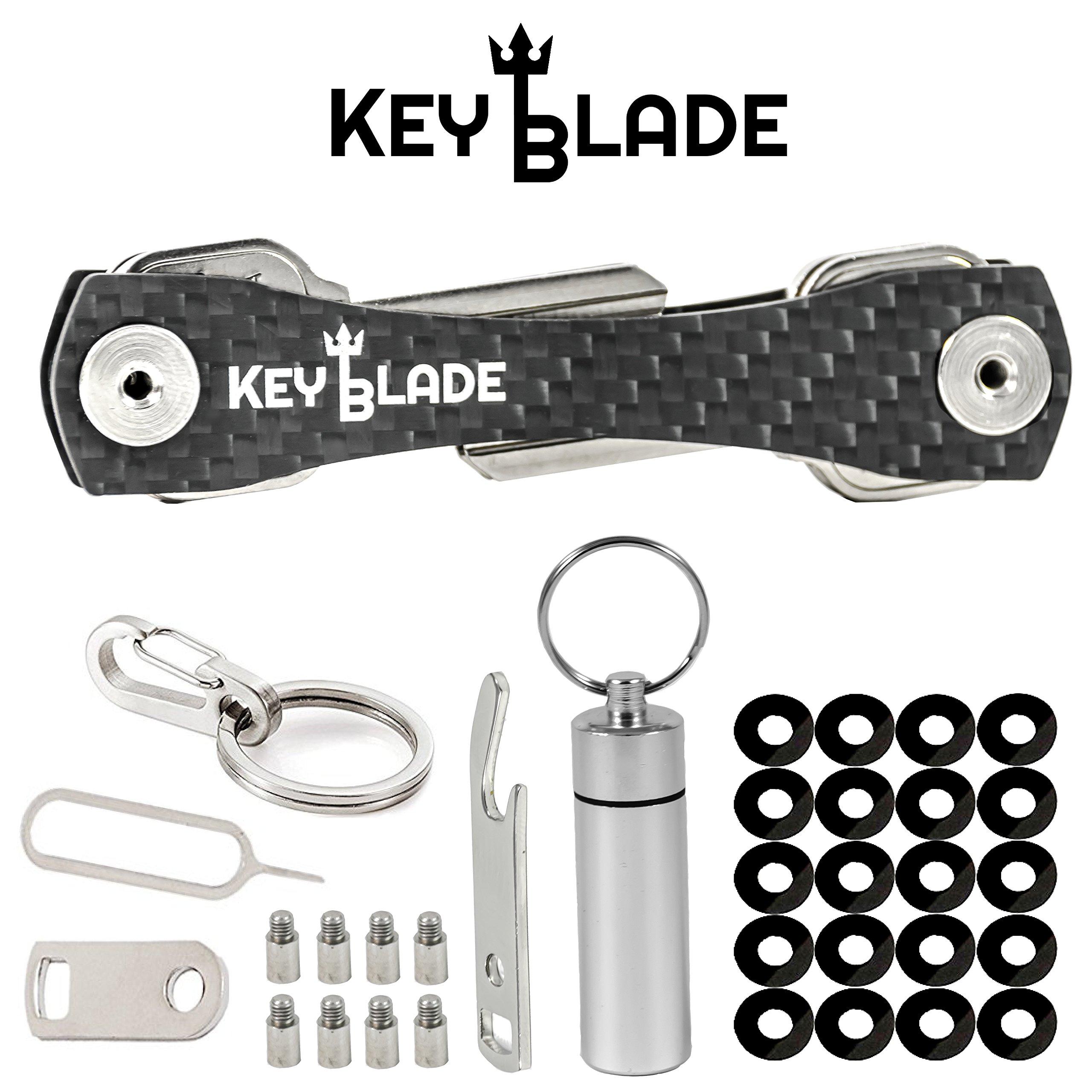 Keyblade Carbon Key Holder Keychain- Smart Compact Pocket Keys Organizer up to 24 Keys- Lightweight & Durable- Free Bottle Opener, Carabiner, More- Made of Carbon Fiber & Stainless Steel