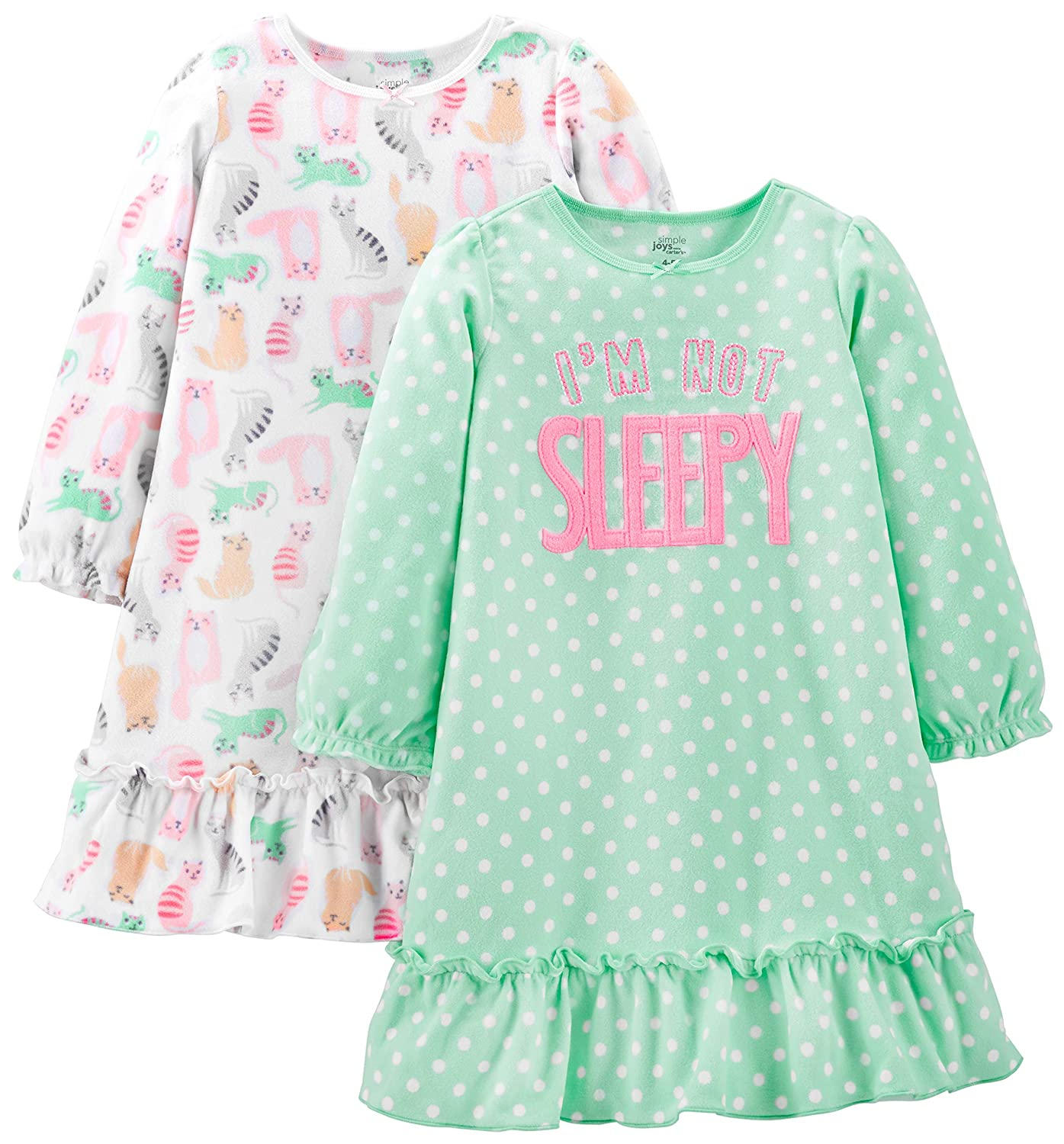 Simple Joys by Carter's Little Kid Girls' 2-Pack Fleece Nightgowns Simple Joys by Carter' s