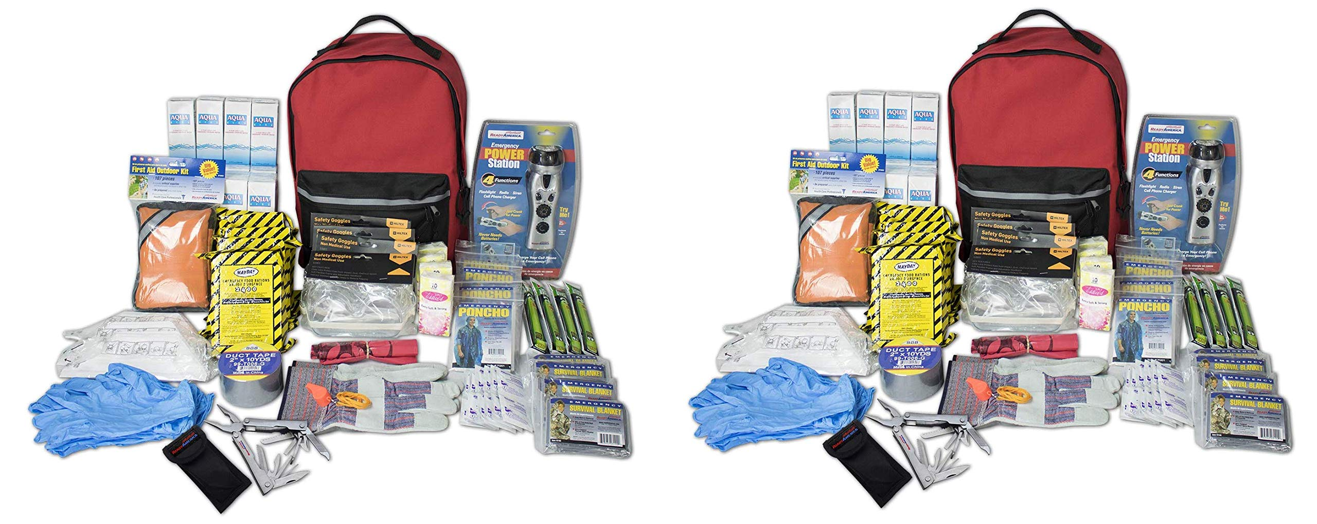 Ready America 70385 Deluxe Emergency Kit 4 Person Backpack (Twо Расk)