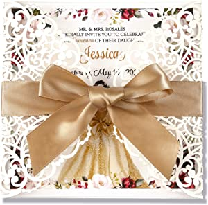 Doris Home 50pcs Square Quinceañera Birthday Invitations Cards Kits Fall Baby Shower Invite, Birthday Invitation Wedding Rehearsal Dinner Invites, Autumn Engagement Bach with Bowknot Hollow