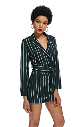 b84526a6307 ROMWE Women s Striped Print Colorblock Blazer Short Romper With Belt Formal  Jumpsuit Green S