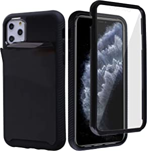 MONCABILE Stick on The Wall Phone Case That Sticks to Anything -[Drop Protection] Built in Screen Protector Anti Gravity Sticky Phone Case for iPhone 11 Pro (Black)