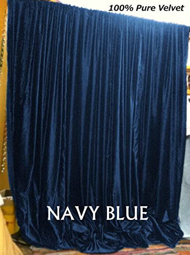beddingNdecor Super Soft Luxury Vintage Velvet Royal Velvet Curtain 9FT W X 9FT H 108 W X 108 H Backdrop Drape Panel Backstage Theater Navy Blue
