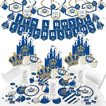 Bundle for 48 Baby Shower or Birthday Party Tableware Plates and Napkins Big Dot of Happiness Royal Prince Charming with Gold Foil