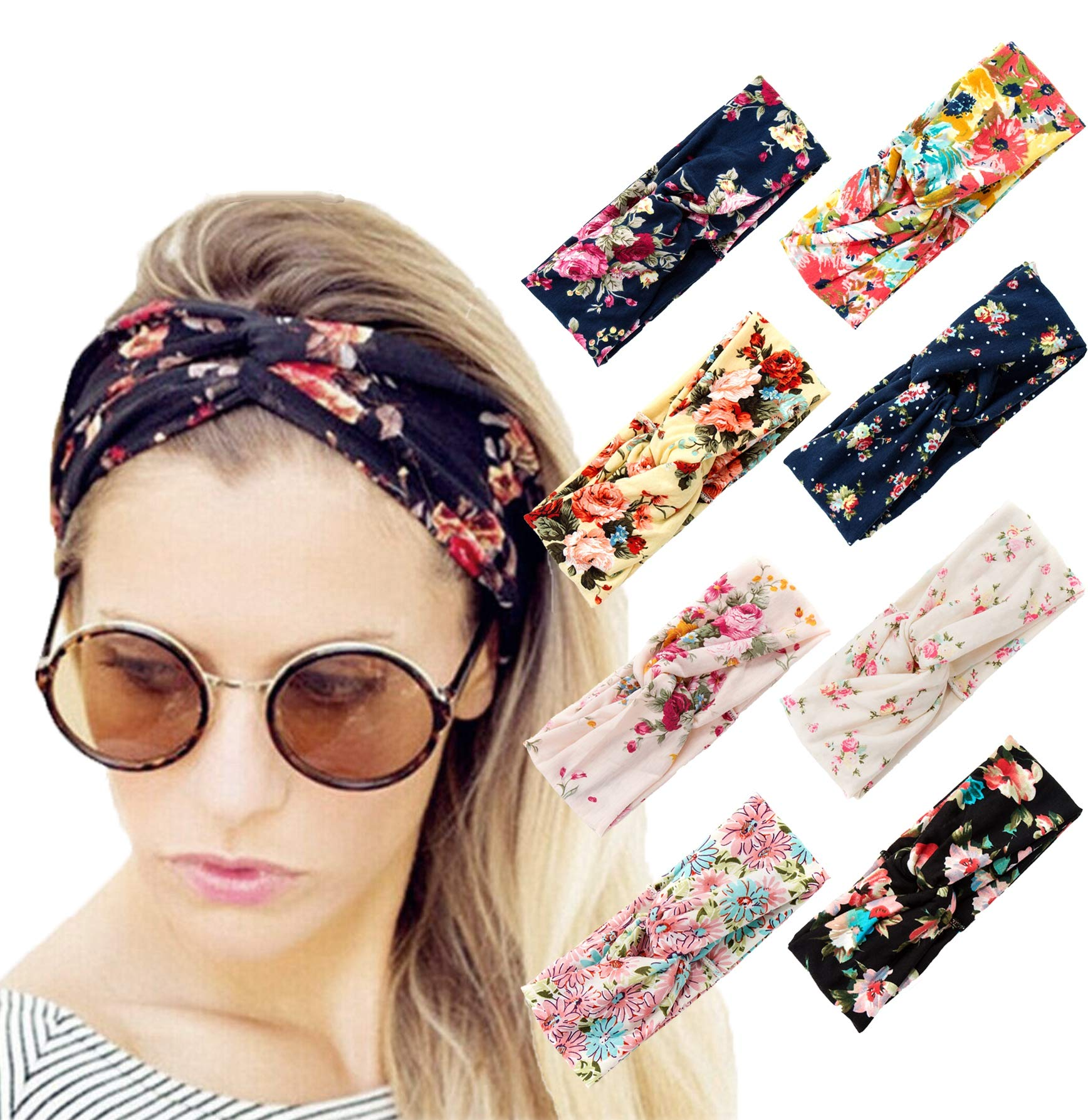Vegolita 8 Pack Headbands for Women Girls Yoga Head Wrap Hair Band Boho Flower Elastic