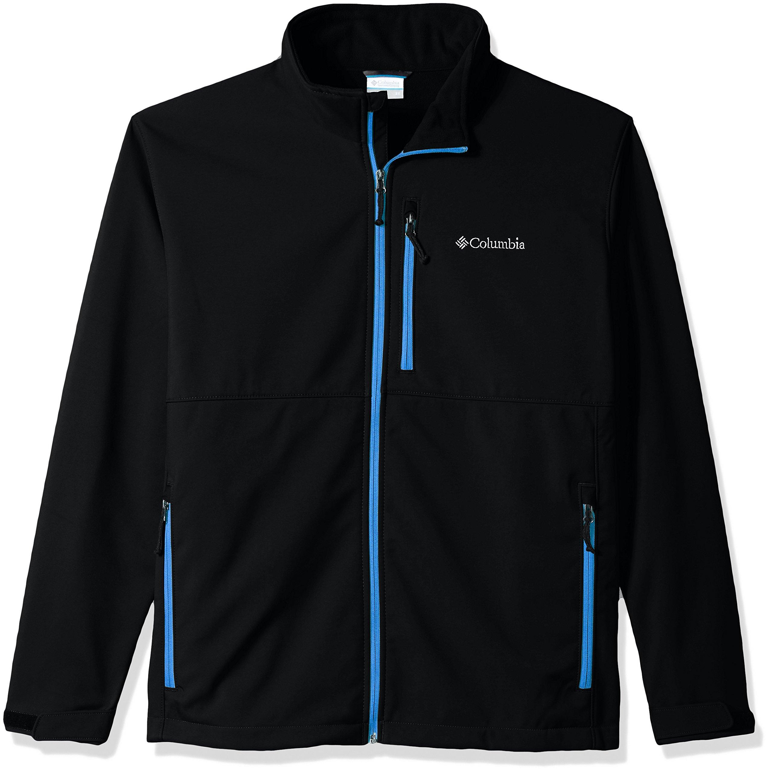 Columbia Men's Big and Ascender Softshell Jacket, Black, Dark Compass, 2X Tall