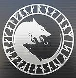 Silver Ying Yang Wolf Rune Circle Vinyl Decal
