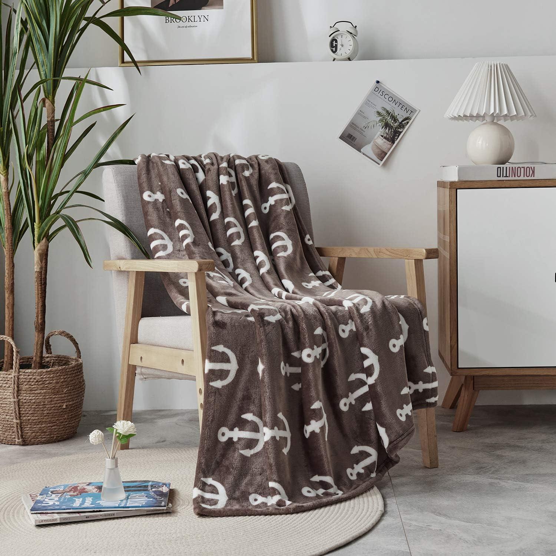 "DAKANG Plush Throw Blanket, Fleece Throw for Couch 50"" x 60"" - Soft Microfiber Cozy Lightweight Printed All Season Bed Throw Blanket, Anchor Borwn"