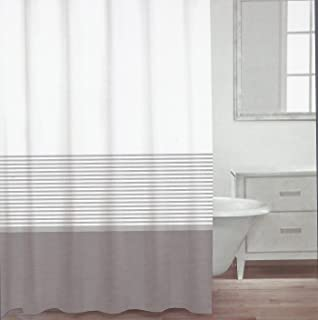 Lovely CARO Home Fabric Shower Curtain   Grey, White, And Silver Stripe