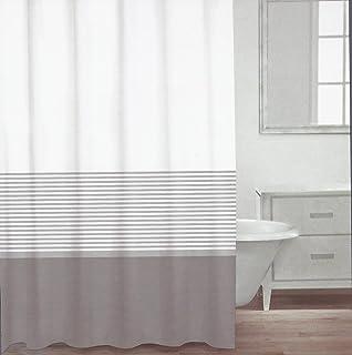 Amazon.com: CARO Home Fabric Shower Curtain Wide Light Gray White ...