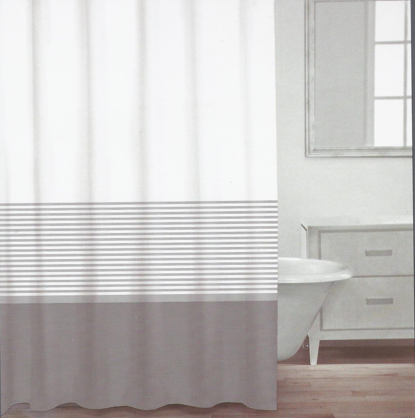 Amazoncom CARO Home Fabric Shower Curtain Grey White And - Beige and gray shower curtain