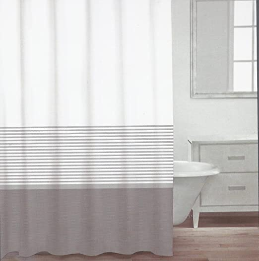 Amazon com  CARO Home Fabric Shower Curtain Grey White and Silver Stripe Kitchen