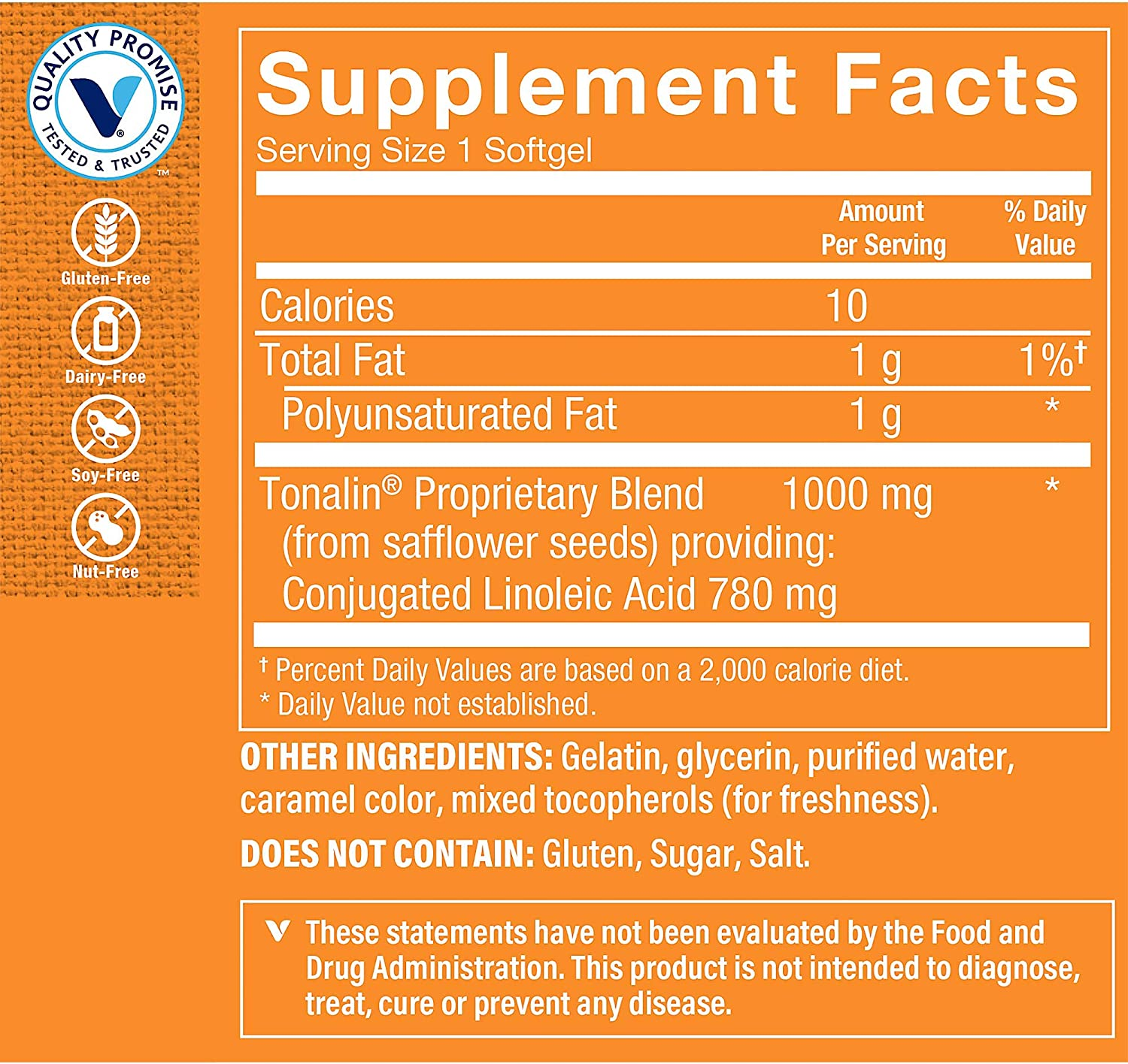 Tonalin CLA 1000mg Softgel, Conjugated Linoleic Acid 780mg from Safflower Seeds Supports Reduction of Body Fat, Stimulant Free, Gluten Free (90 Softgels) by The Vitamin Shoppe: Health & Personal Care
