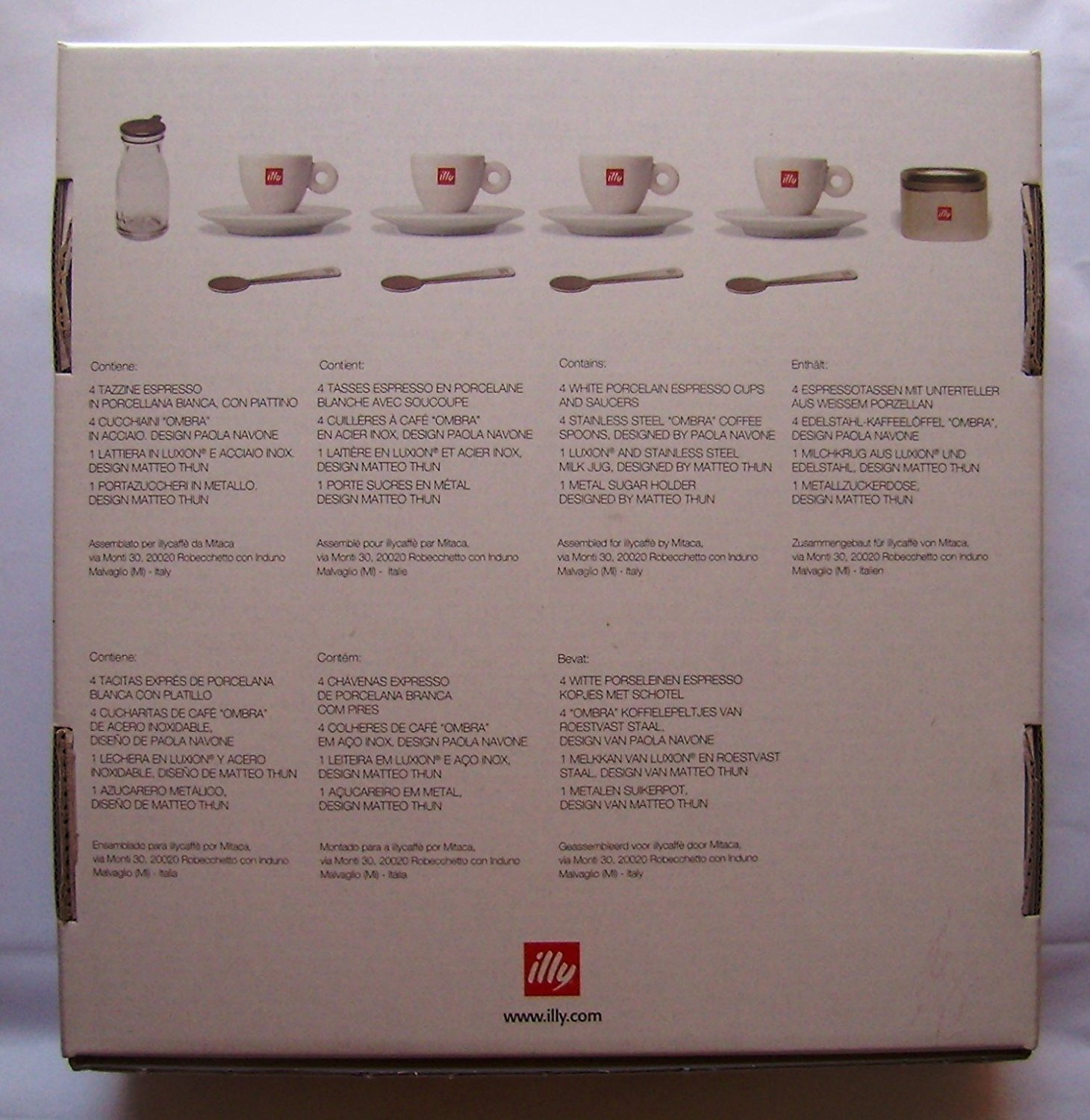 ILLY ART COLLECTION - WELCOME TO THE ILLY WORLD by Matteo Thun - 4 Espresso Cups + Metal Sugar Bowl & Milk Glass + 4 Spoons by Paola Navone - Gift Set Box by ILLY ART COLLECTION - WELCOME TO THE ILLY WORLD by Matteo Thun - 4 Espresso Cups