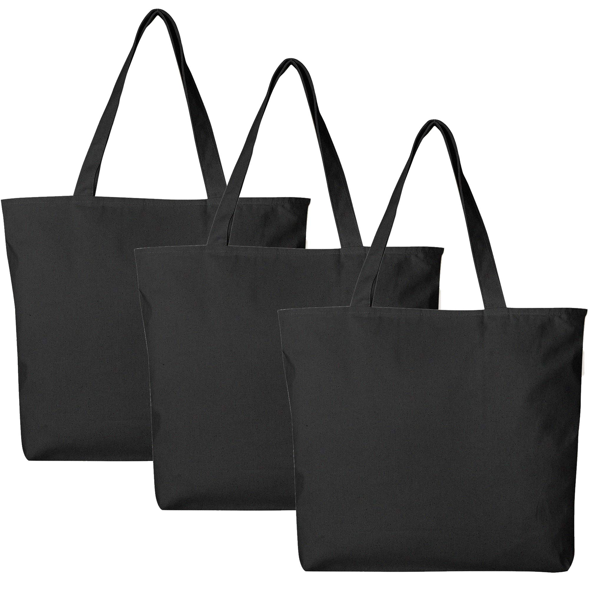 BagzDepot Canvas Tote Bag with Zipper - 3 Pack - Bulk Canvas Bags for Crafts, Groceries, Large Canvas Tote Bag for Women, Men, Kids, Teachers - Canvas Beach Tote Bag - (Black Tote Bags) by BagzDepot