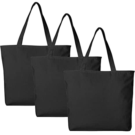 2310f12f5150 PACK OF 3 Large Heavy Canvas Plain Tote Bags, with Top and Inside Zipper  Closure by BagzDepot (Black)