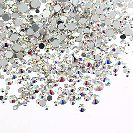 Aolvo 1440 PCS Clear Crystal AB Rhinestones Flat Back Gem Beads Round Glass  Stones Fake Diamond 5a5ee6fcc071