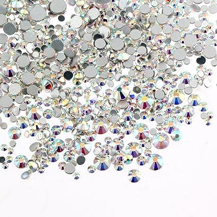 Aolvo 1440 PCS Clear Crystal AB Rhinestones Flat Back Gem Beads Round Glass  Stones Fake Diamond b6c7e5a546c1