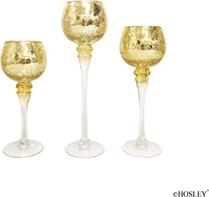 Hosley Set of 3 Crackle Gold Glass Tealight Holders 9 Inches 10 Inches and 12 Inches High Ideal for Weddings Special Events Parties Also Makes a Great Gift O9