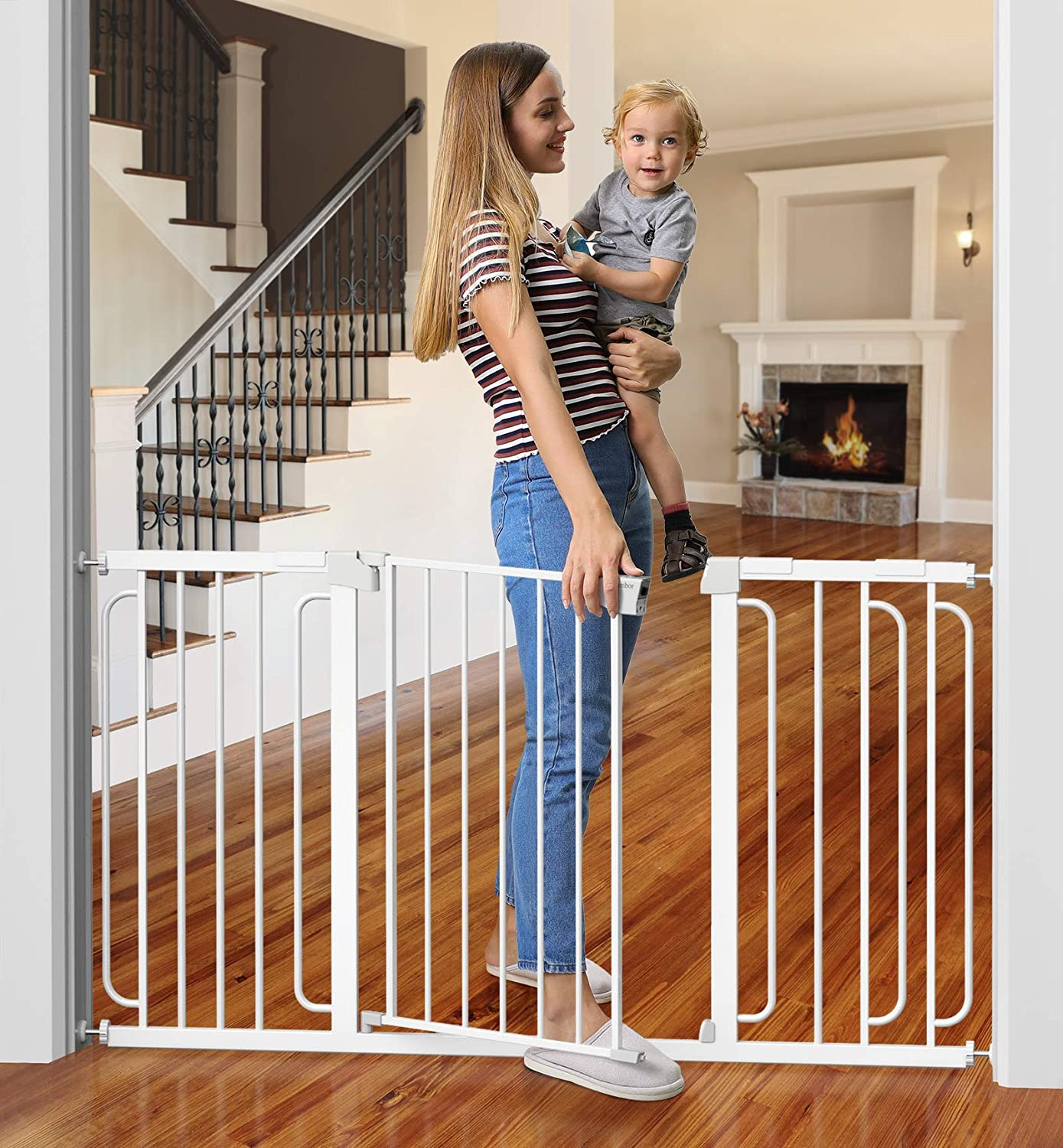 Cumbor Baby Gate for Stairs, Extra Wide 57-Inch Dog Gate for Doorways, Pressure Mounted Walk Through Safety Child Gate for Kids Toddler, Adjustable Tall Pet Puppy Fence Gate, White