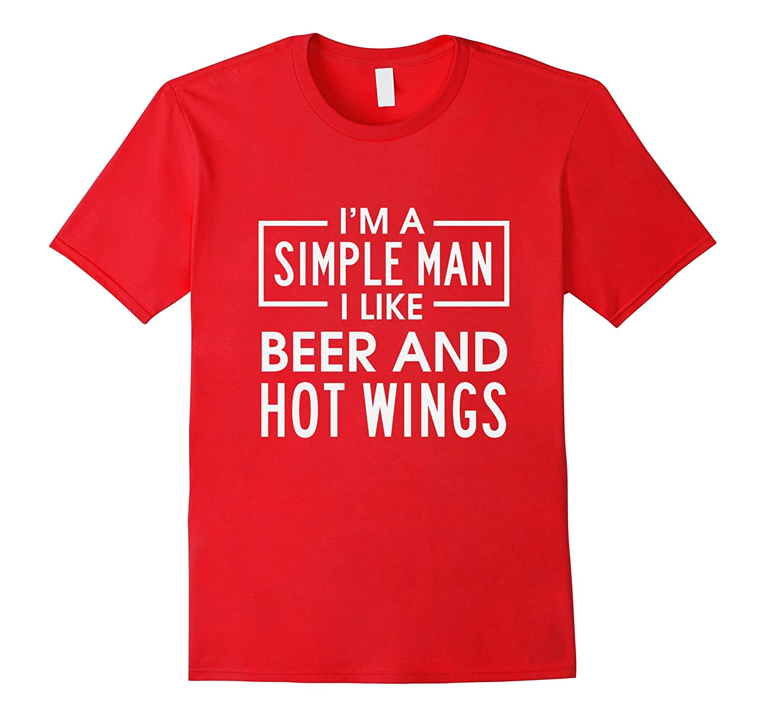 Mens Im A Simple Man I Like Beer And Hot Wings Funny T-Shirt-TH