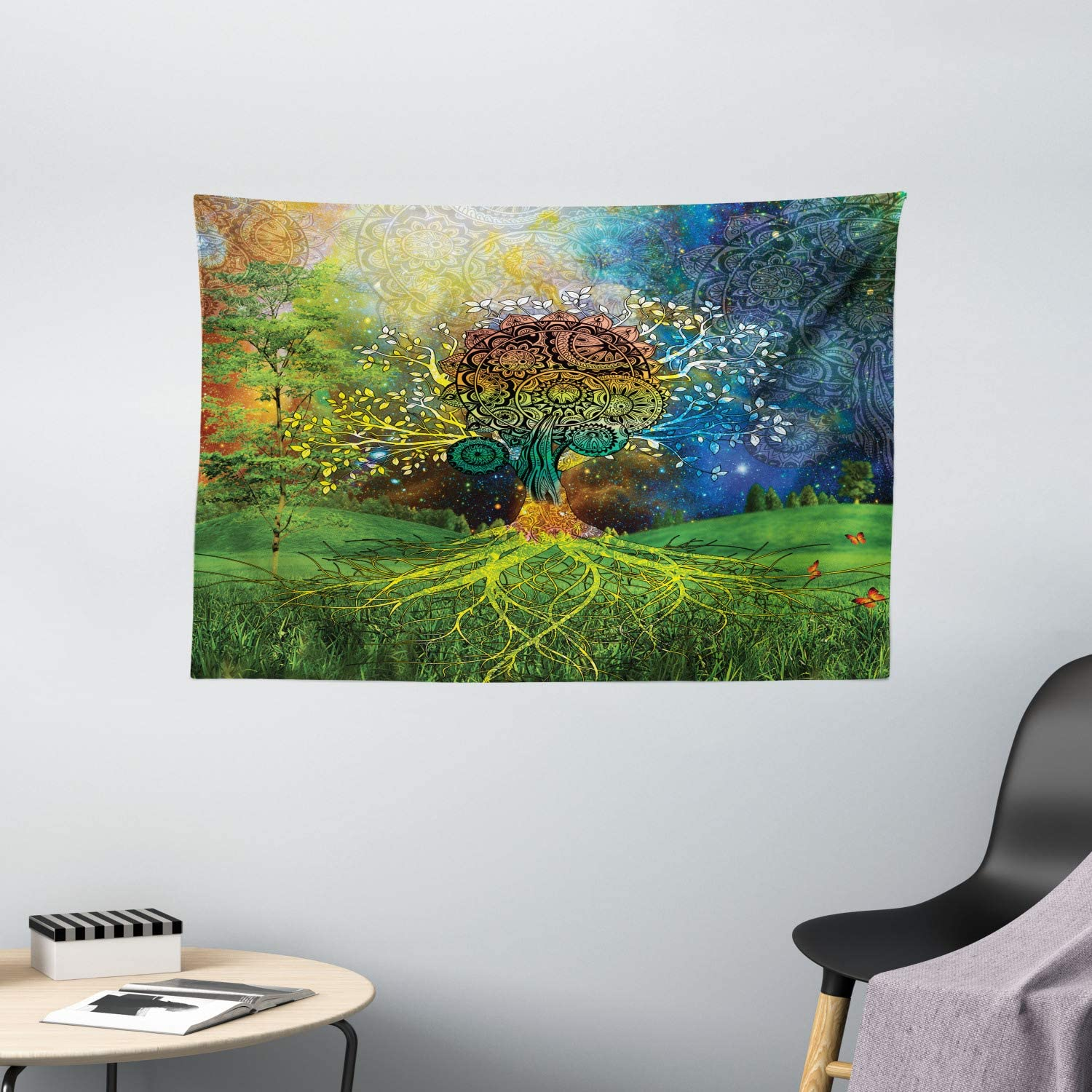 """Ambesonne Ethnic Tapestry, Tree in The Valley with Spiral Branch Balance in Mother Earth Art Illustration, Wide Wall Hanging for Bedroom Living Room Dorm, 60"""" X 40"""", Green Multicolor"""