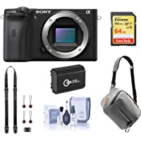 Sony Alpha a6600 Mirrorless Digital Camera Body (ILCE6600/B) Bundle with Peak Design Bag, Extra Battery, 64GB SD Card, Neck Strap, Cleaning Kit