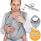 Portabebés hecho de algodón 100 % - gris claro con estrellas - portabebés de alta calidad para recién nacidos y bebés hasta 15 kg - incluye bolsa para guardar y babero GRATIS - precioso diseño de Makimaja®