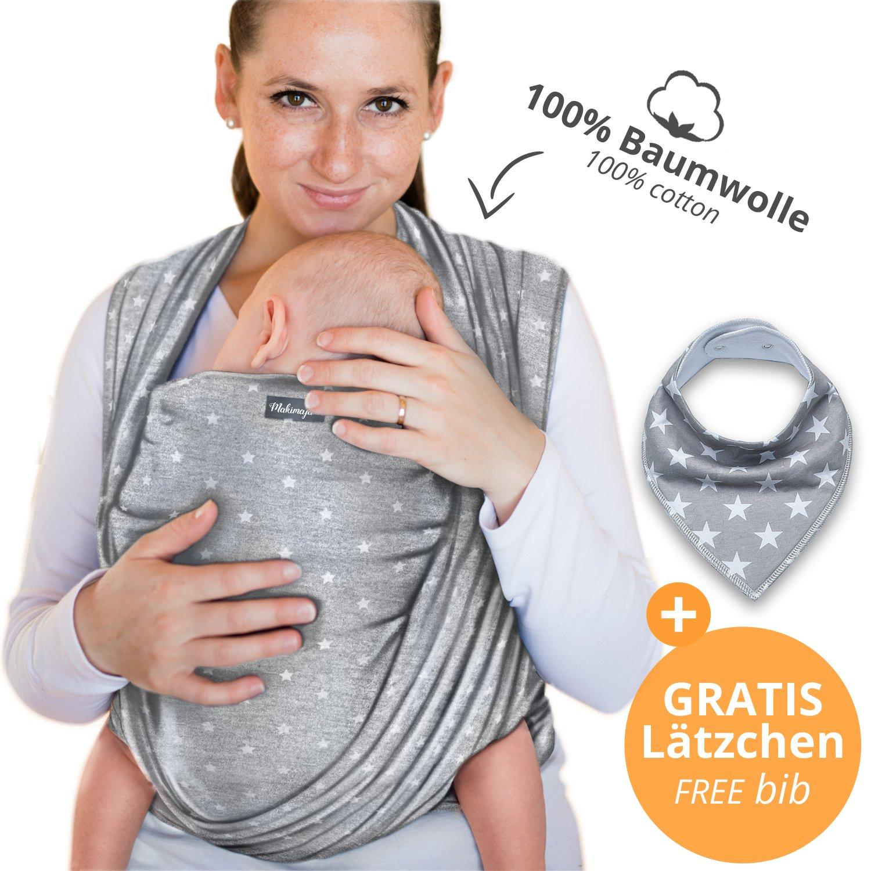 Portabebés hecho de algodón 100% - gris claro con estrellas - portabebés de alta calidad