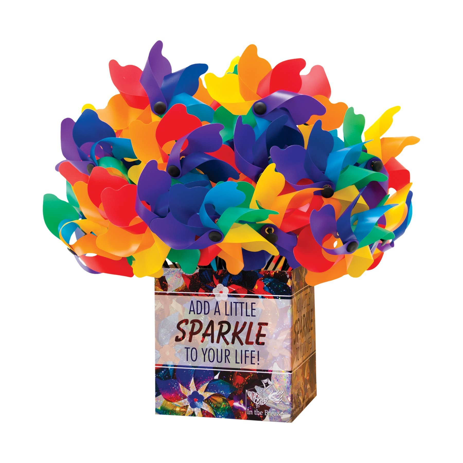 In the Breeze 40 Piece Rainbow Poly Petal Pinwheel Spinners, 8''