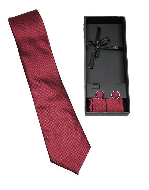 Set coordinato uomo cravatta con pochette e bottoni gemelli rosso bordeaux  elegante cerimonia  Amazon.it  Abbigliamento 1181a2f1433