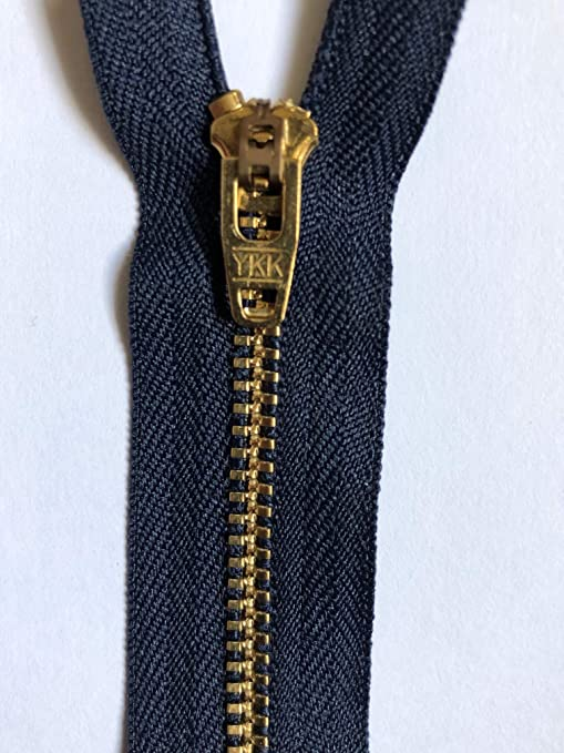 No5 Brass Coloured Metal Teeth Closed End Auto Lock Jeans Zip