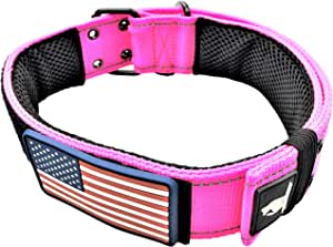 "Diezel Pet Products Dog Collars K9 Harness Tactical Military Style - 2"" Two Inch Wide Heavy Duty Thick Nylon Webbing for Strong Large XL Big Dogs - Metal Two Pin Belt Buckle - USA American Flag Patch"