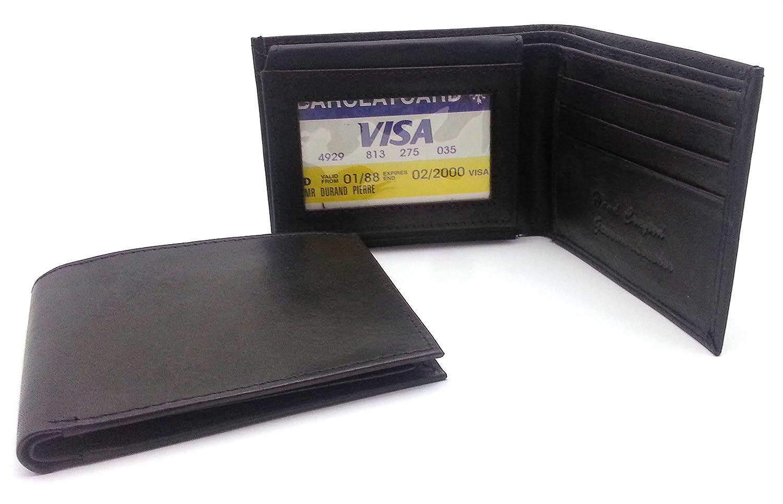 Card Window Bifold Genuine Leather Black Plain Compact Wallet 6 Card Slots