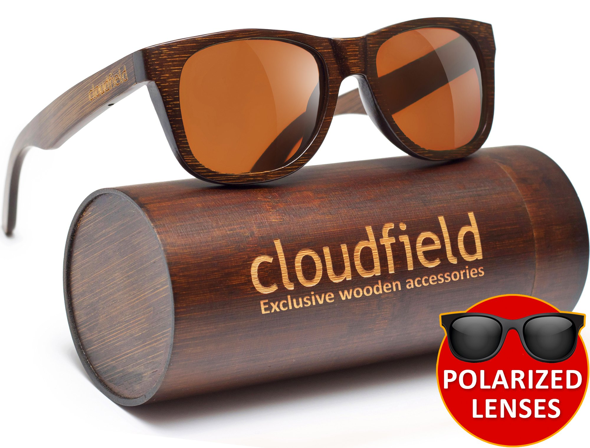 Wood Sunglasses Polarized for Men and Women by CLOUDFIELD - Wooden Wayfarer Style - 100% UV 400 Protection - Premium Build Quality - Bamboo Wooden Frame - Perfect Gift by cloudfield