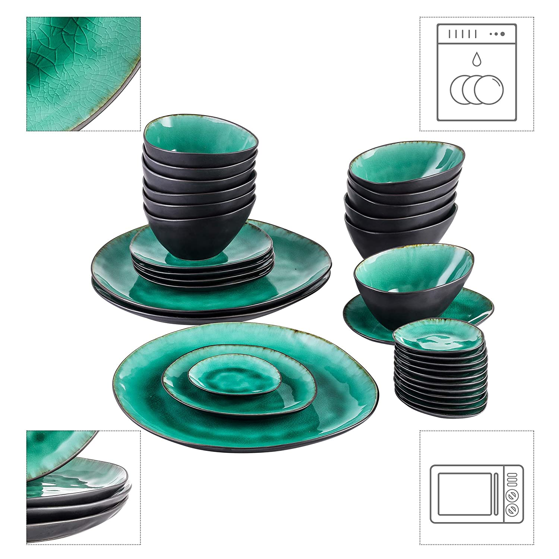Vancasso Desserteller Raku Glasur Effekt Flachteller f/ür Fr/ühst/ück 12 teilig Aqua Geschirr Kuchenteller Set aus Steingut