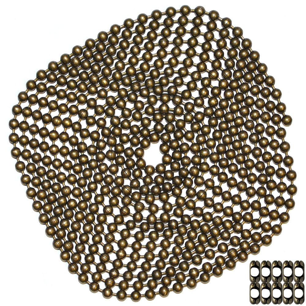 10 Foot Length Ball Chain, #10 Size, Medieval Brass Finish, & 10 Matching 'B' Couplings