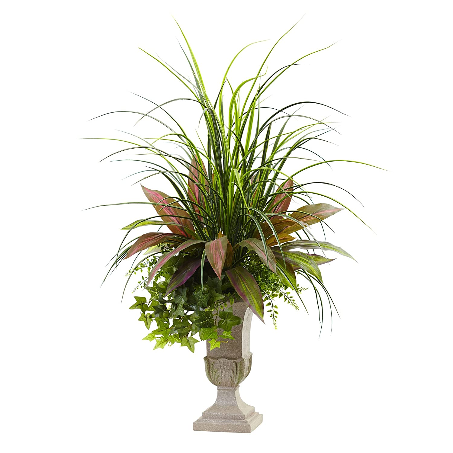 Nearly Natural Mixed Grass, Dracena, Sage Ivy & Fern with Planter, 3