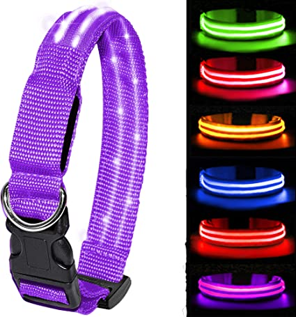 MELERIO LED Dog Collar Flashing Light Up with USB Rechargeable /& 100/% Waterproof Super Bright Flashing Dog Collar with 10 Hours Working Time