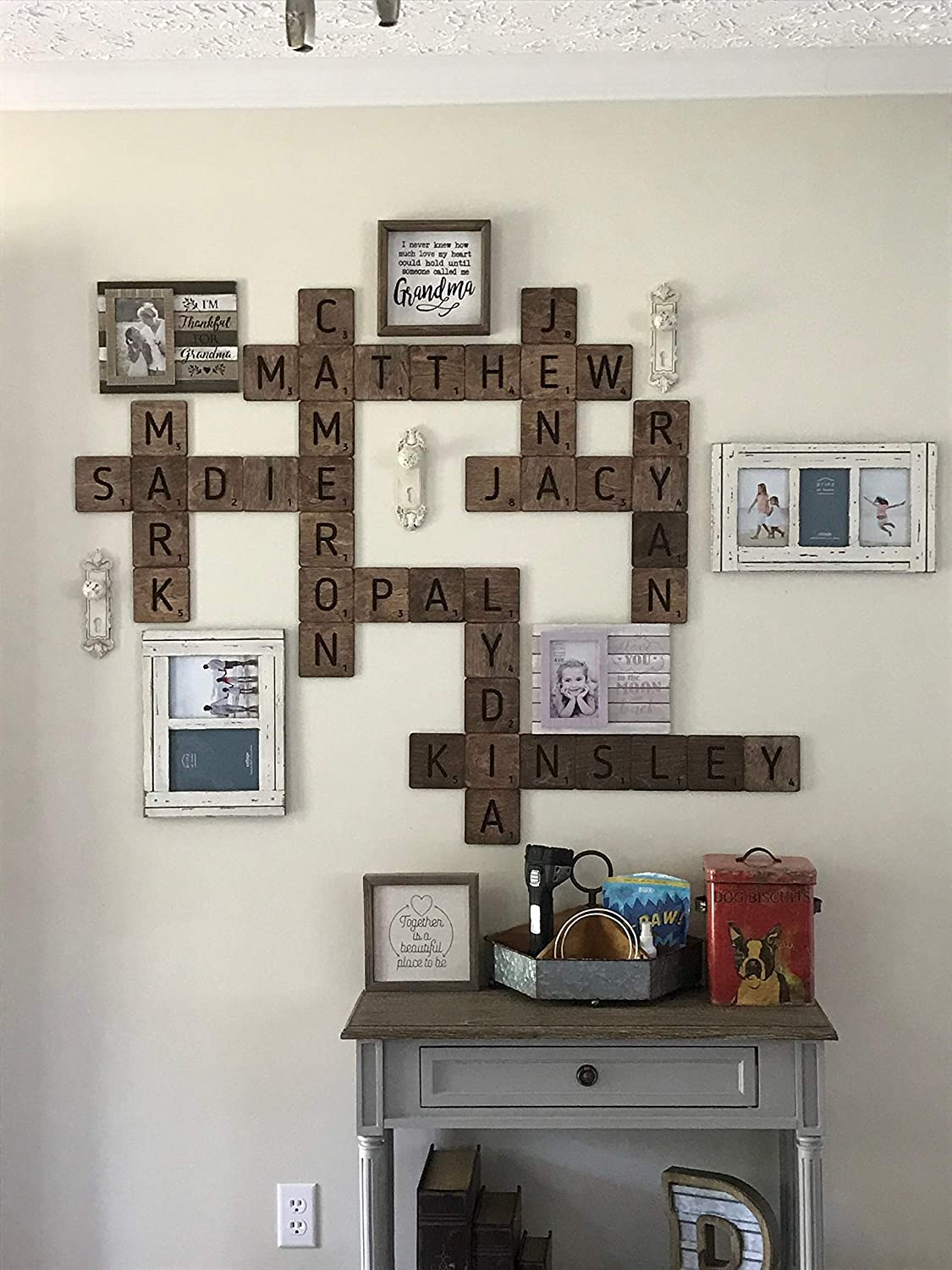Labour Day Wall Large Scrabble Tiles Letters Wood Wall Rustic Art Family Living Room Bedroom Kitchen Valentines Day Gift For Husband Wife Personalized